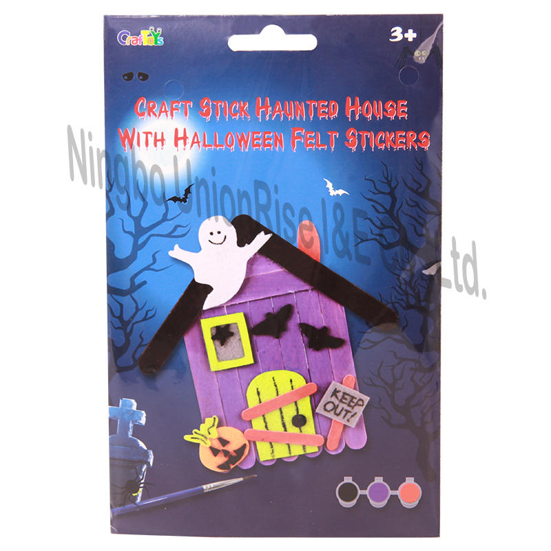 Craft Stick Haunted House With Halloween Felt Stickers