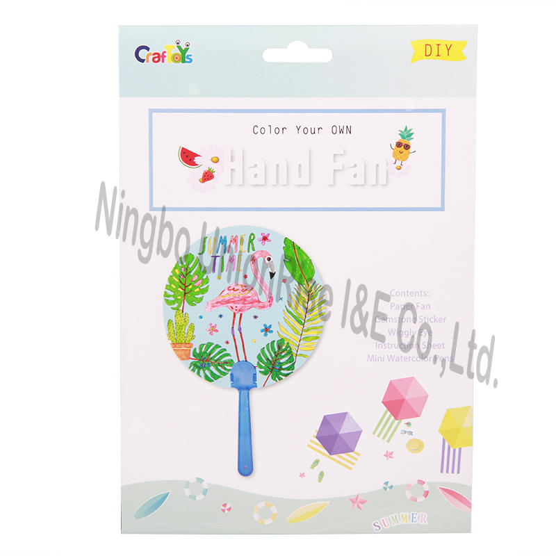 Color Your Own Hand Fan Flamingo