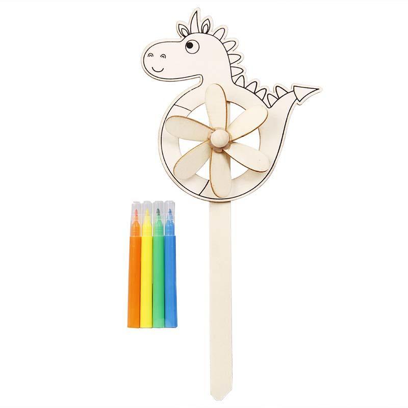 Colour Your Own Garden Windmill Dinosaur