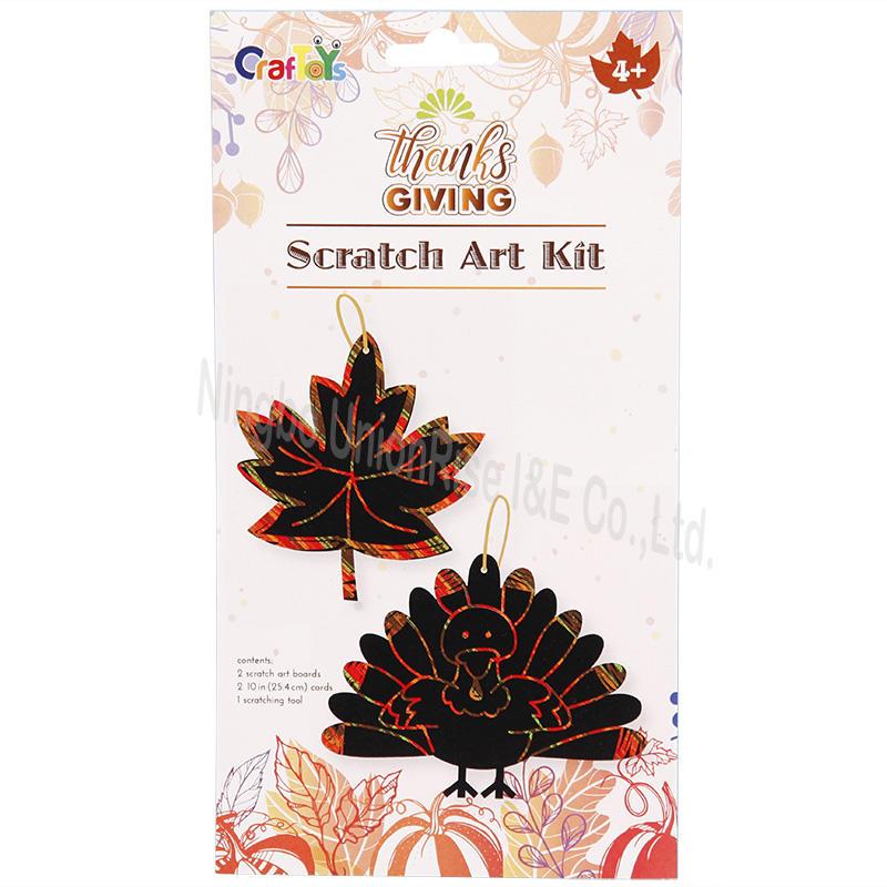 Scratch Art Kit Leaves&Turkey