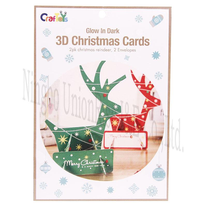 Glow In Dark 3D Christmas Cards Deer
